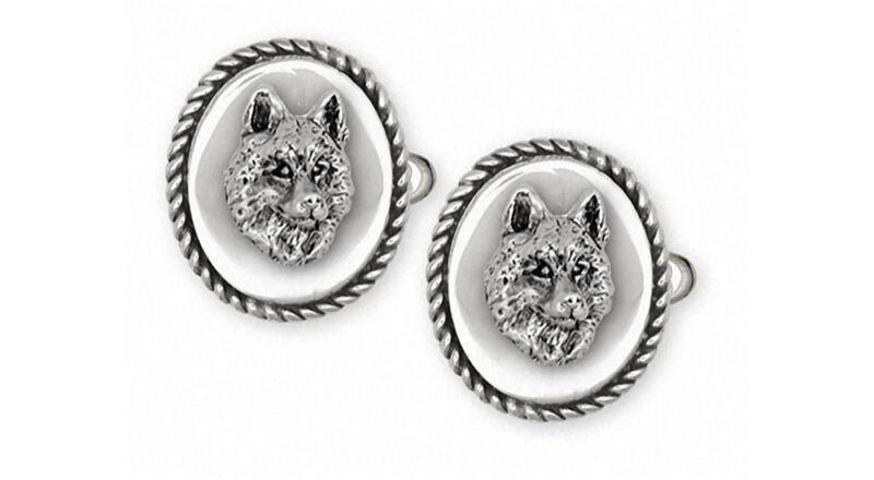 Siberian Husky Cufflinks Jewelry Sterling Silver Handmade Dog Cufflinks SB3-CL