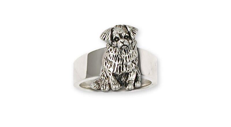 Tibetan Spaniel Ring Handmade Sterling Silver Dog Jewelry TS3-R