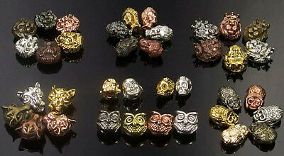 Multi Color Beads (multi color metal spacer beads charms - skull tiger lion buddha owl Roman)