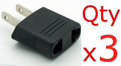3pc EU Europe to US USA Charger Plug Adapter European to American Converter