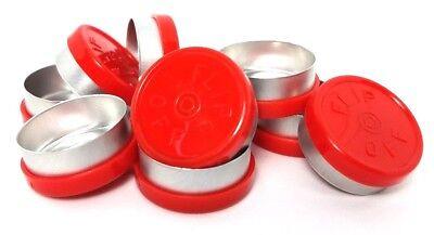 Alpha Lab Supply 20mm Plain Flip Top Aluminum Seals - Red Qty. 100