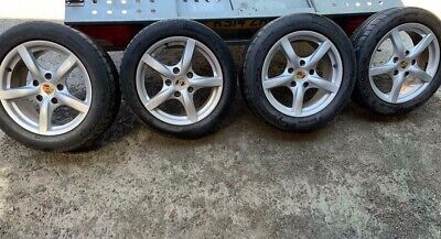 """PORSCHE BOXSTER 987 17"""" STAGGERED ALLOY WHEELS & TYRES. 98736212708 & 9873621250"""