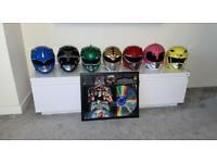 RARE mmpr complete helmet set x2 signed with framed laserdisc