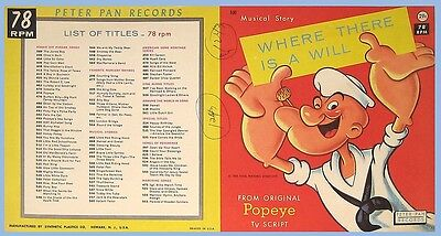 PETER PAN RECORDS - POPEYE - RECORD SLEEVE ONLY - 1962 - FILE COPY - UNUSED