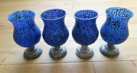 NEW MOROCCAN CANDLE HOLDERS 4 Large Blue Glass Mosaic T-Light Holders Dining Cafe Garden Decor Light