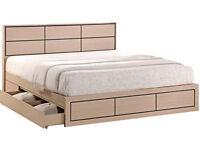 Wooden, Storage Bed, Frame, Mattress. new, 2 Big draws, Drawers, oak, grid detail, Solid frame.