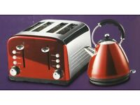 NEW KITCHEN COLLECTION STAINLESS STEEL 4 WIDE SLICE TOASTER & 1.7L KETTLE - RED £30