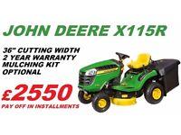 New John Deere X115R Ride On Lawnmower - Full Warranty