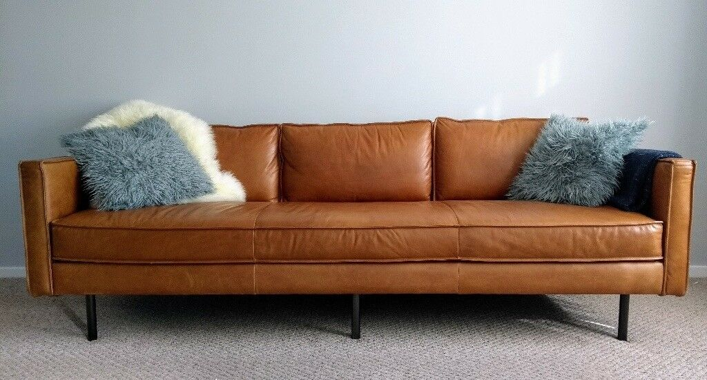 Mid century style axel leather sofa from west elm in for Best west elm sofa