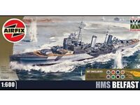 HMS Belfast,1:600 airfix model with paint,brushes and cement