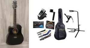 Left handed Acoustic Guitar Black 41 inch Full Size Cutaway iMusic810LF with Full Package