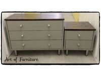 Chest Of Drawers & Matching Bedside Table Hand Painted in Mineral paint.