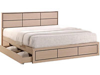 Wooden, Bed, oak, with 2 Large Draws, thick, firm mattress. Storage bed. leather. SOLID BED FRAME