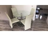 Glass Dining Table & 4 Dining Chairs