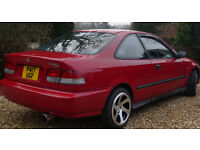 "Honda Civic Coupe 1.6 EJ6 1997 Red, 81K miles, MOT, 16"" 3SDM alloys, Pioneer DAB, subwoofer"