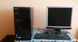 Acer M3802 Desktop PC with keyboard and 2 monitors