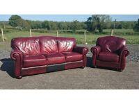 Oxblood leather 3+1 Sofa set