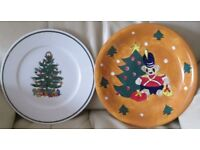 """2 - large Serving Plates, Christmas design, not matching, 11/12"""" diameter, good condition."""