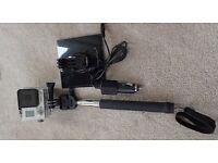 Gopro Hero3+ with spare battery and mains charger and monopod