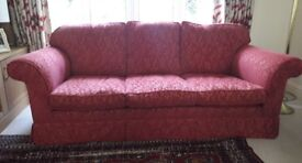 Large red 3 seat sofa, from Laura Ashley, good quality and comfortable. Size 1,203 cm lng, 90 cm dp