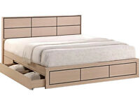 Double, solid, 2 Large storage, large, drawers, storage bed, wooden, oak, Sprung, mattress, solid.