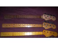 Fender , Squier Style Bass Guitar Necks.