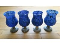 NEW Moroccan Candle Holders 4 Large Blue Glass Mosaic T-Light Holders/Dining/Tableware/Café/Garden