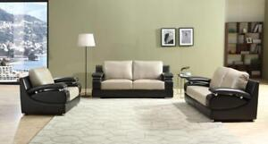 LORD SELKIRK FURNITURE -Leena 3Pc Couch Set Sofa, Loveseat, Chair in Leather Gel in Beige and Brown Brand New - $1699.00