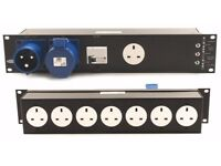 Kelsey 19″ 2U 32 or 16 Amp Single Phase Power Distribution Units with 13A Sockets on the Rear
