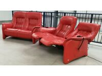 Himolla Stressless red Leather 2 x 2 seater sofas electric recliner 230720