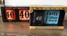 2x 40th birthday sets ( brand new)