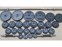 York cast iron weight set 77kg + bar + dumbbell crossfit bodybuilding