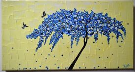Cherry Blossom Acrylic Canvas Art Painting with flying birds *Handmade Painting*- Direct from Artist