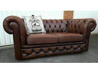 Brown Leather Chesterfield Sofa Chesnut 2 Seater with Castors