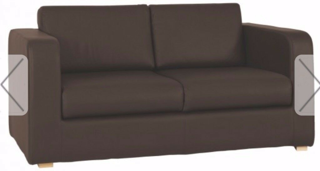 Habitat Porto brown leather 3 seater sofa bed