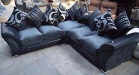 Superb Quality-SHANNON SOFA FABRIC And FAUX LEATHER LEFT OR RIGHT CORNER - 3+2 SEATER