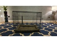 PET CRATE - DOUBLE DOOR - MEDIUM (Never Used) with Mattress & Cover