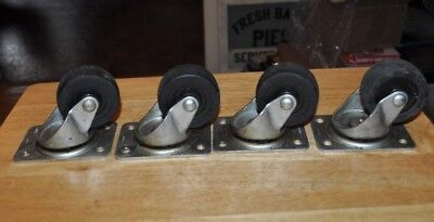 4 Vintage Black Swivel Cold Forged Casters Wheels Industrial Heavy Duty