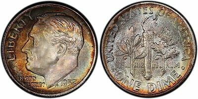 Click now to see the BUY IT NOW Price! 1952 S PCGS MS68 HIGH GRADE TONED ROOSEVELT DIME 10C EXCELLENT EXAMPLE TOP POP