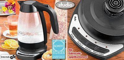 STUDIO LUX Glas Wasserkocher Temperaturregler Baby Tee 1Liter 1500W Schott Duran