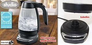 STUDIO Lux Glas Baby Tee Wasserkocher Temperaturregler 1Liter 1500W Schott Duran