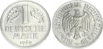 BRD 1 Mark 1969 G Fehlprägung ohne Randschrift, Auslands-Ronde Reinnickel Stgl.