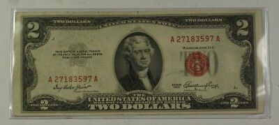 Series of 1953 Two Dollar $2 Bill *Red Seal* United States Currency VG-VF