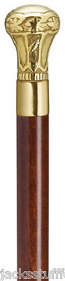 Harvy Regal Brass Knob Handle Handcrafted Brown Wood Walking Stick Mens Cane USA
