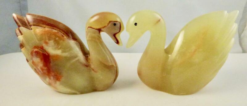 Vintage Made in Pakistan Set of 2 Marble SWANS Paperweight Figurines