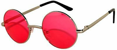 Retro Round Circle Red Vintage Tint Sunglasses Metal Silver