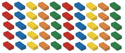 ☀️NEW! Lego 2x4 Bricks, 50 Count, 5 Assorted Colors RED Orange Yellow Blue Green