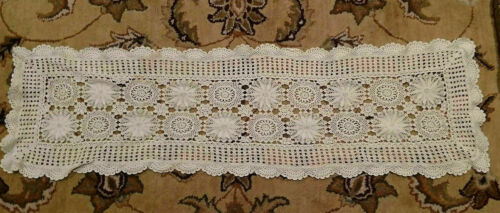 """Cream 48X14"""" Cotton Vintage Handmade Crochet Lace Table Runner Placemat Cover"""