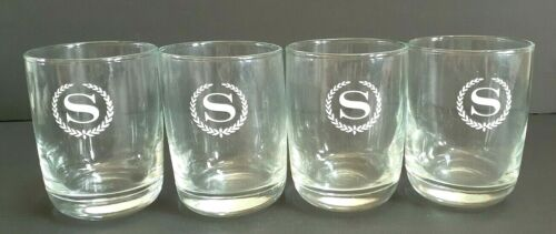 "Set of 4 Vintage Sheraton Hotel ""S"" Wreath Design Water Glasses"