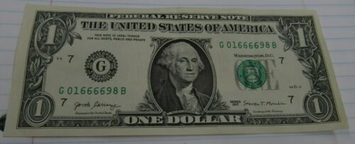 2017 US one dollar bank note fancy serial repeater 666 69 numerology RARE